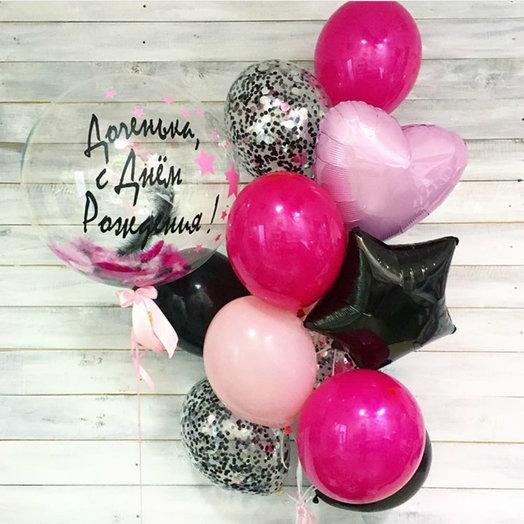 Малиново-черная композиция с шаром bubble: букеты цветов на заказ Flowwow