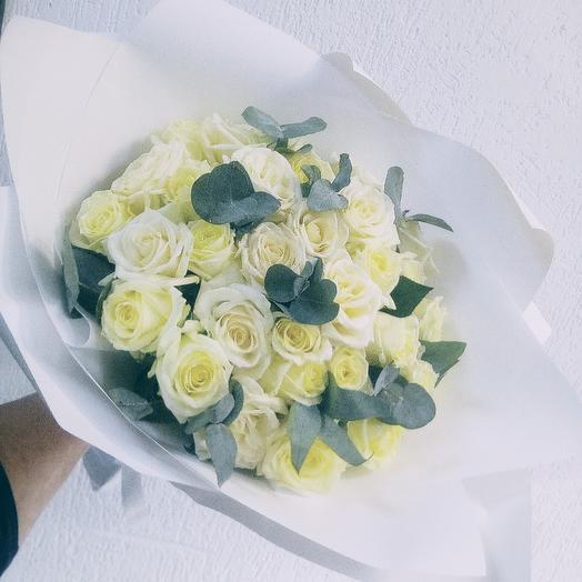 Букет из белых роз 29шт: букеты цветов на заказ Flowwow