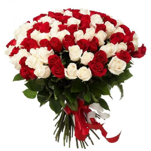 101 красно-белая роза 50 см: букеты цветов на заказ Flowwow