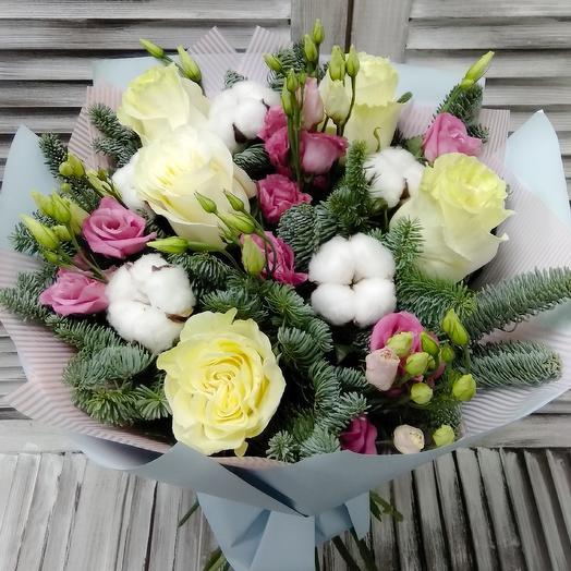 Букет из роз эустомы и хлобкп с нобилисом: букеты цветов на заказ Flowwow