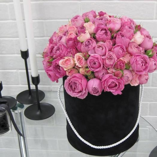 Цветочная композиция в черной коробке: букеты цветов на заказ Flowwow