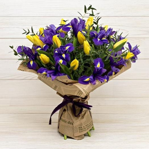17 тюльпанов в ирисах: букеты цветов на заказ Flowwow
