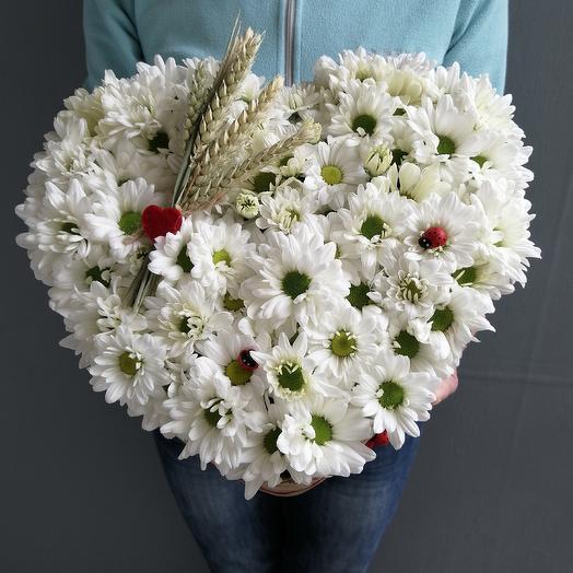 Ромашковое сердце из кустовой хризантемы и пшеницы: букеты цветов на заказ Flowwow