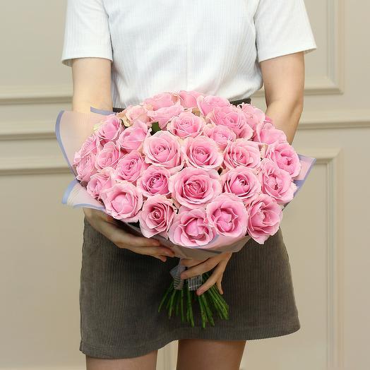 35 розовых роз 50 см (Эквадор) premium