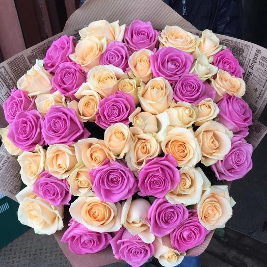 51 роза тёплый микс: букеты цветов на заказ Flowwow