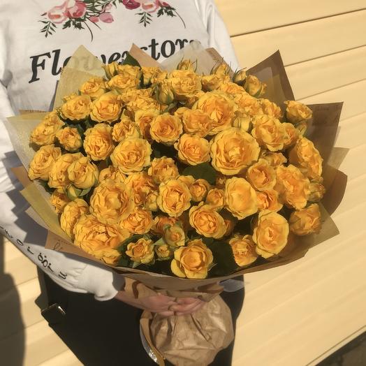 Солнечные розы в букете: букеты цветов на заказ Flowwow