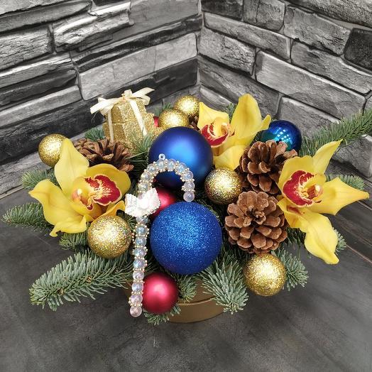 """Зимняя композиция с орхидеей """"Gold"""": букеты цветов на заказ Flowwow"""