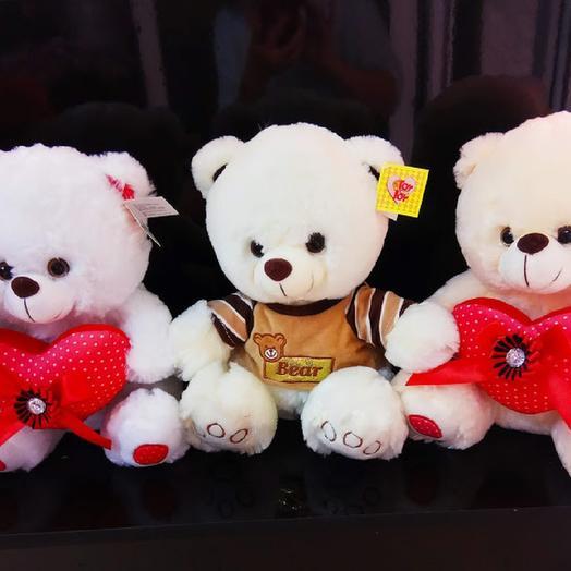 Медведь мягкий с сердцем в ассортименте