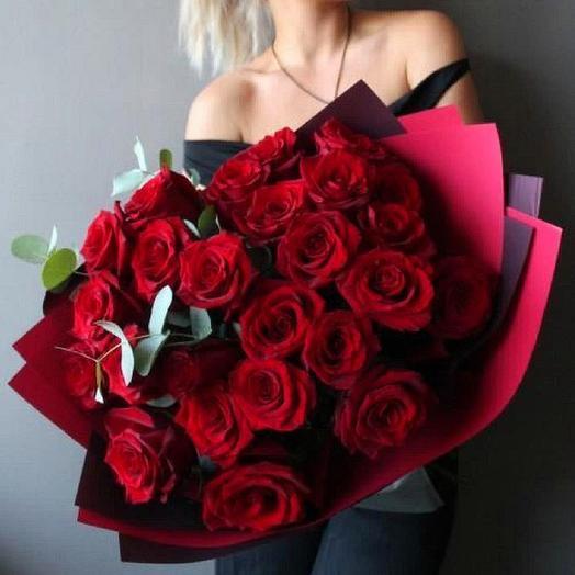 Роза красная 25шт