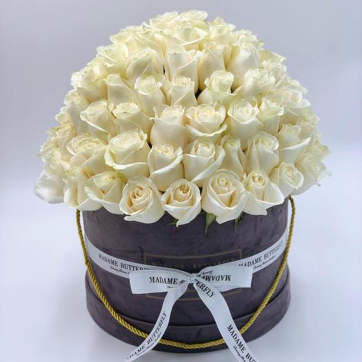 Люкс Вельвет серый. 101 белая роза