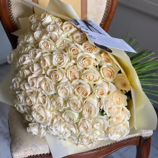Моно из сливочной розы