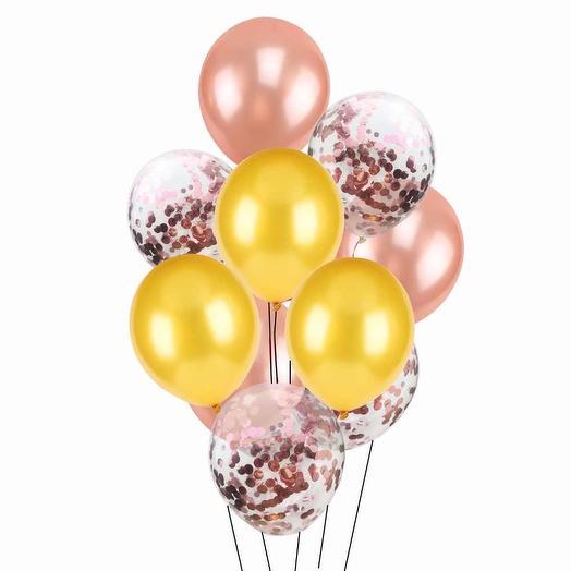 Цветные латексные шары воздушные шары с конфетти розовое золото