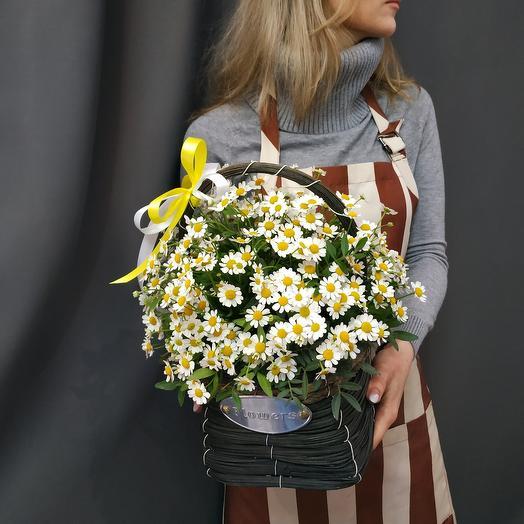 """Корзина с цветами""""Ромашковое поле"""""""
