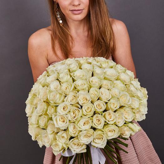 101 белая роза премиум