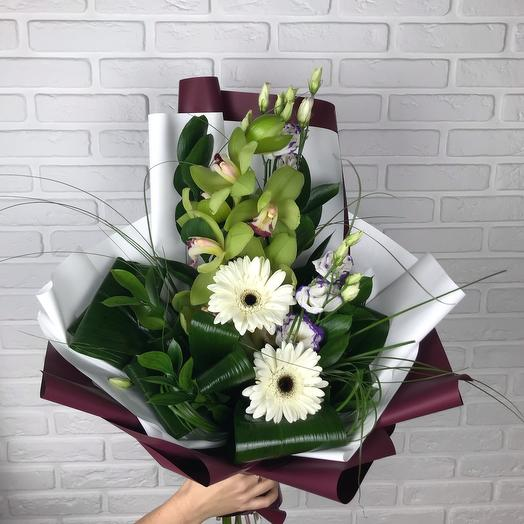 Bouquet with orchid and gerberas