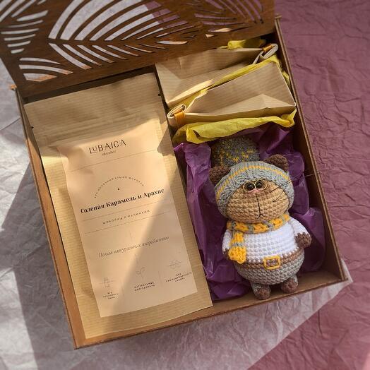 Подарочный кофейно-шоколадный набор с серым котиком