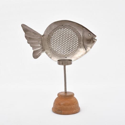 Металлический подсвечник в форме рыбки на деревянной подставке (латунь)(никель), большой/маленький (Цвет-Никель, Размер-Малая)