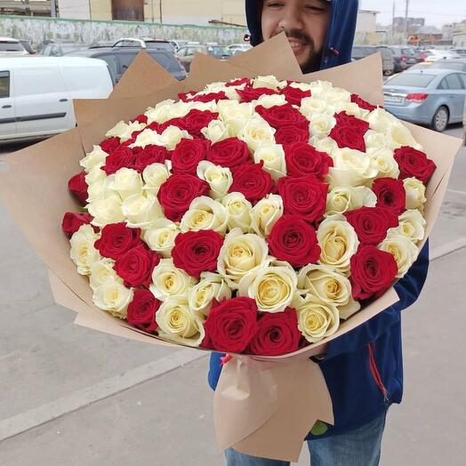 101 роза 60см микс