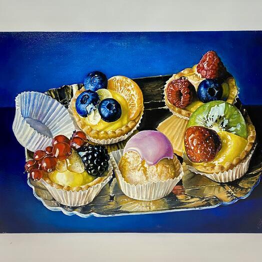 """Картина """"Пирожные на подносе"""" 50*70 см. масло, холст"""