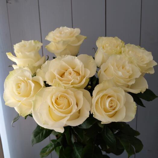 9 Белых роз 70 см