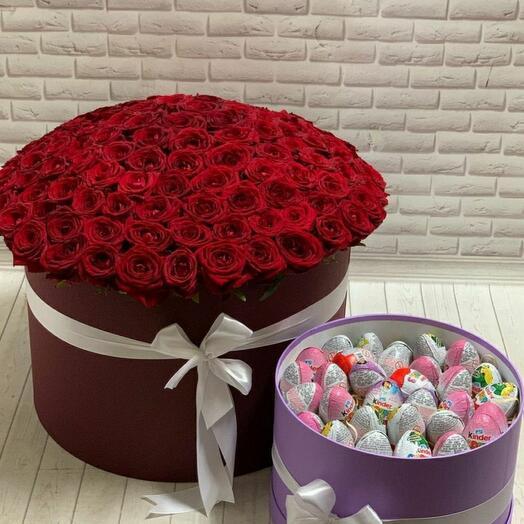 Цветы в коробке + сладости