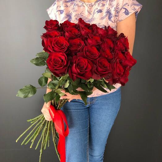 Flowers Lovers - 19 бордовых высоких роз Эквадор 70см