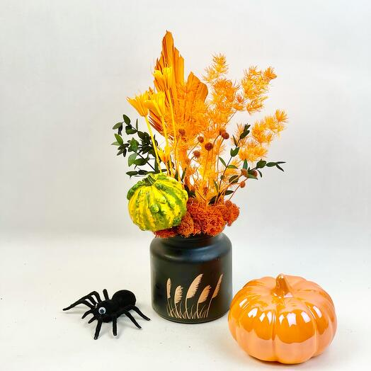 Ваза для Хеллоуина и натуральная тыковка