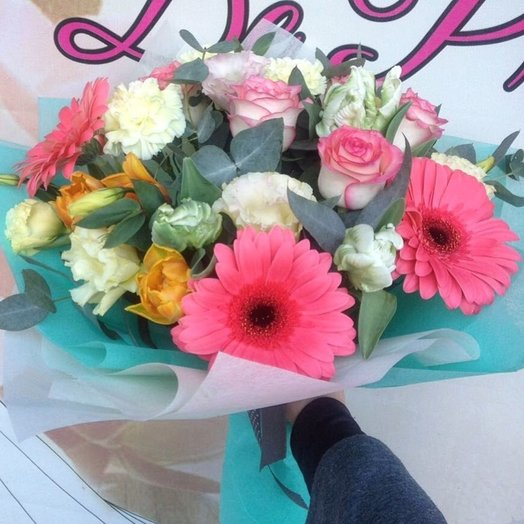 Bouquet with gerberas and peony tulips: flowers to order Flowwow