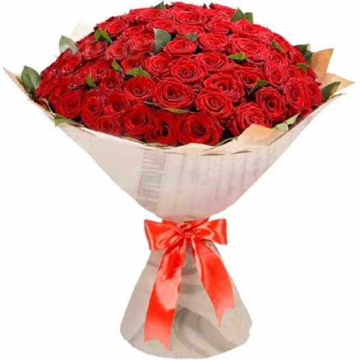 101 роза в крафте: букеты цветов на заказ Flowwow