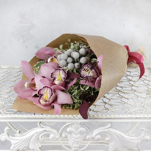Букет из орхидеи листьев питтоспорума и брунии: букеты цветов на заказ Flowwow