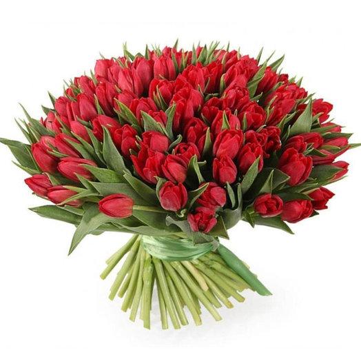 Букет из 101 пионовидного тюльпана: букеты цветов на заказ Flowwow