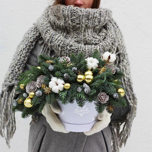 Новогодняя композиция 09: букеты цветов на заказ Flowwow