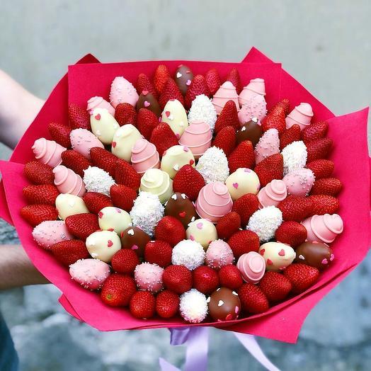 Букет из клубники в шоколаде XL: букеты цветов на заказ Flowwow