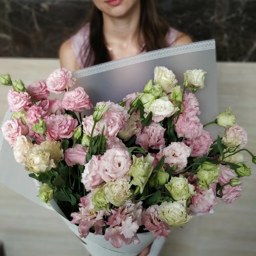 Букет из махровых Эустом (цвета на выбор: белые, розовый, фиолетовый): букеты цветов на заказ Flowwow