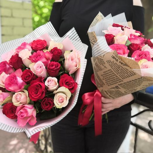 25 кенийских роз микс: букеты цветов на заказ Flowwow