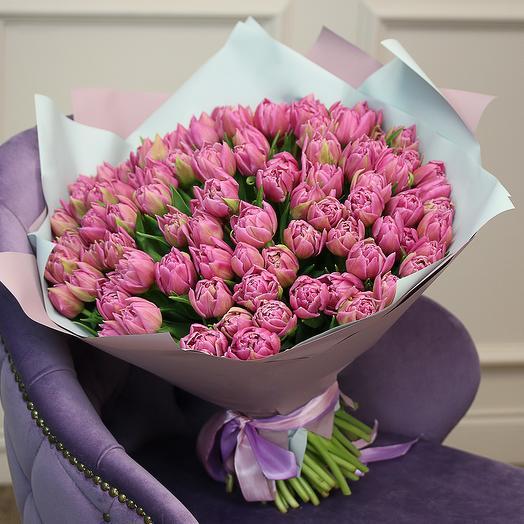 Букет из 101 розового пионовидного тюльпана