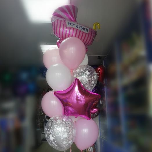 Гелиевые шары на выписку из род.дома для девочки: букеты цветов на заказ Flowwow