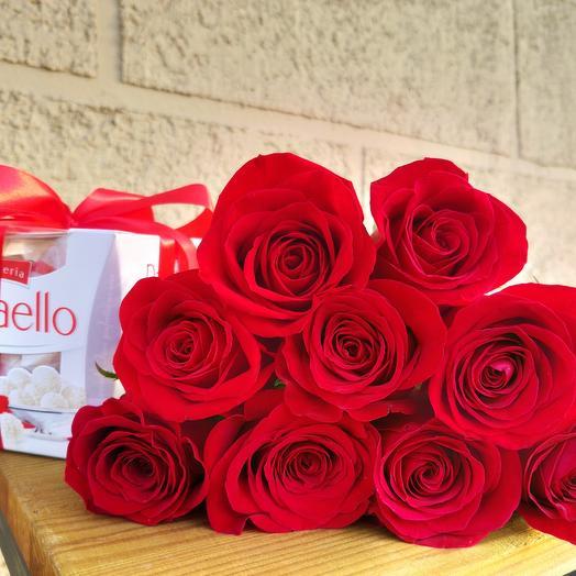 9 роз и конфеты