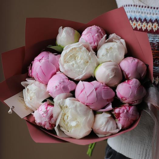 A bouquet of delicate peonies