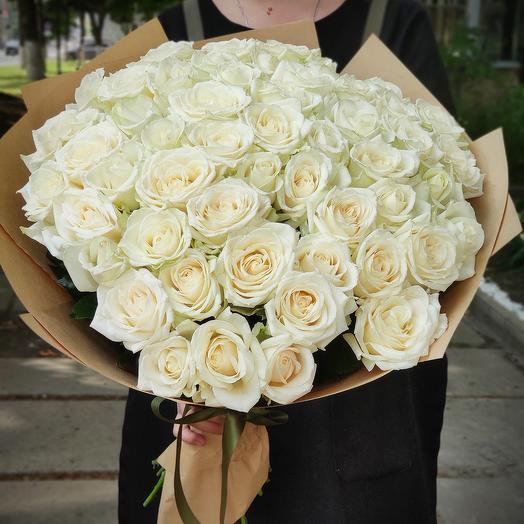 51белая  роза (70см)