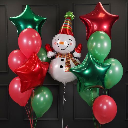 Композиция на Новый год со снеговиком