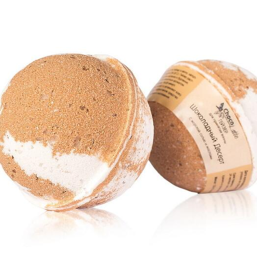 ChocoLatte Гейзер (бурлящий шар) арома для ванн ШОКОЛАДНЫЙ ДЕСЕРТ с морской солью и маслами, d 6 см
