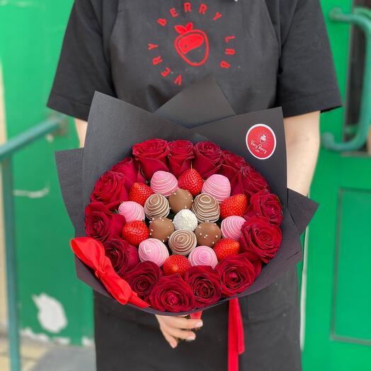 Комбо Цветы и клубника
