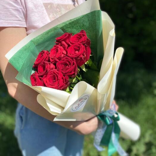 Букет с красной розой - 9 штук