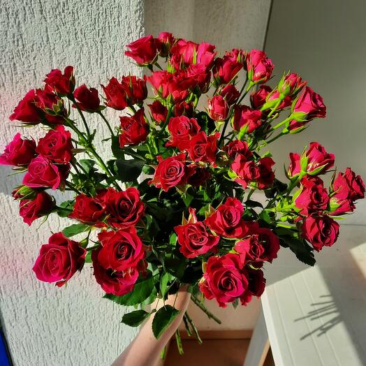 Букет из 11 кустовых роз 60см