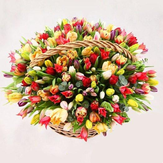 "Корзина тюльпанов ""гигант"": букеты цветов на заказ Flowwow"