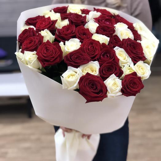 51 роза микс 60см