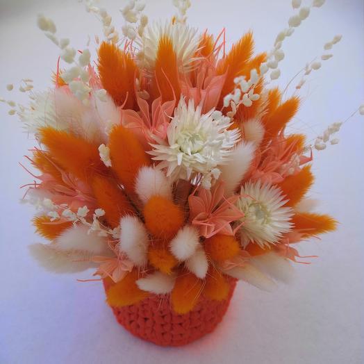 Букет из лагуруса, геликхризума и нигеллы: букеты цветов на заказ Flowwow