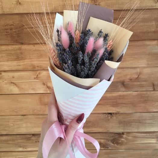 Букет из сухоцветов с лавандой: букеты цветов на заказ Flowwow