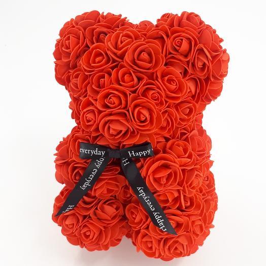 Мишка из роз 45см красный: букеты цветов на заказ Flowwow